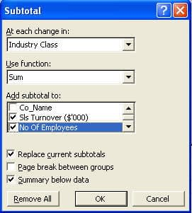 The subtotal function dialog box