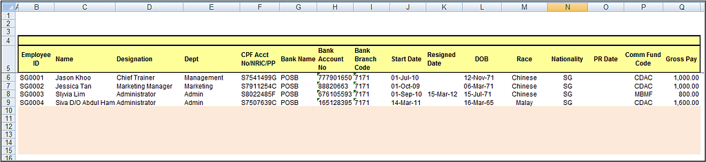 employee records for cpf calculation