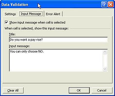 data validation - prompt user with message