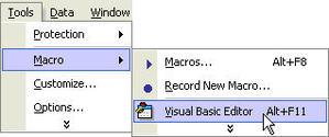 menu to open visual basic editor
