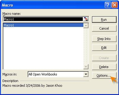 Picture on the macro dialog box
