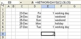 Calculate no of working days
