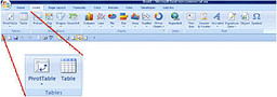 screenshot insert ribbon pivot table