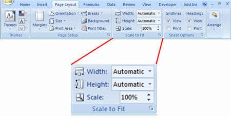 screenshot page layout ribbon sheet option