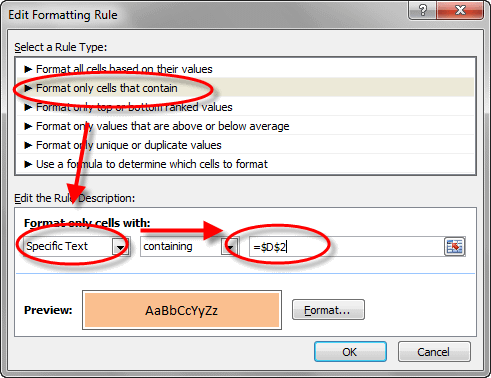 conditional formatting contains text