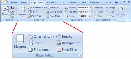 screenshot page layout ribbon page setup